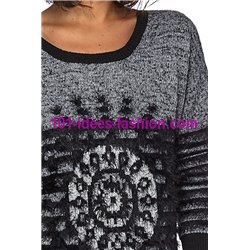 Sweater soft touch print 101 idées 6180W New winter collection 2017