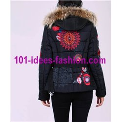 coat short quilted print ethnic fur hood brand 101 idees 1806W store