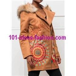 Long coat in suede hood with raccoon fur print ethnic brand 101 idees