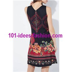 dress tunic ethnic floral print summer 101 idées 649Y Spring Summer