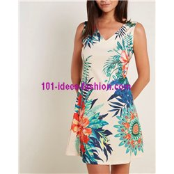 dress tunic ethnic floral print summer 101 idées 223Y clothes for