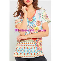 T-shirt top lace summer floral ethnic 101 idées 467Y womens clothes