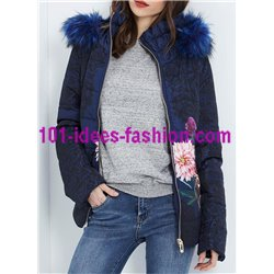 coat short quilted print floral fur hood brand 101 idees 1820Z