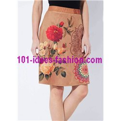 skirt suede print floral ethnic 101 idées 369Z clothes for women