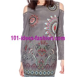 dress tunic suede ethnic winter 101 idées 03102W clothes for women