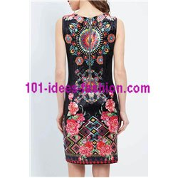 dress tunic velvet ethnic floral winter 101 idées 2009Z clothes for