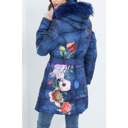 coat long quilted floral print fur hood brand 101 idees 1822W