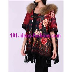 buy now ethnic printed poncho fringes and fur hood brand 101 idees