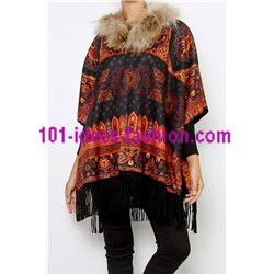 ethnic printed poncho fringes and fur brand 101 idees 2112P clothes