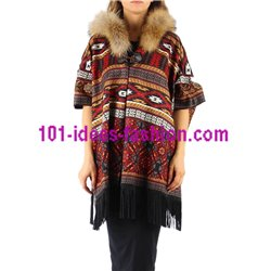 ethnic printed poncho fringes and fur hood brand 101 idees 151P