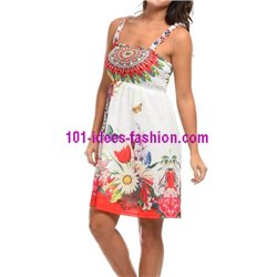 dress tunic ethnic floral print summer 101 idées 1626Y clothes for