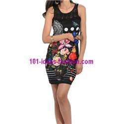 dress tunic lace summer ethnic floral 101 idées 3001Y