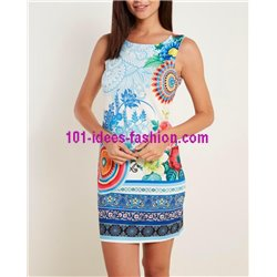boho chic dress tunic ethnic floral plus size 101 idées 626PL clothes