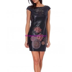 buy now dress tunic print floral ethnic Faux leather 101 idées 1919Z