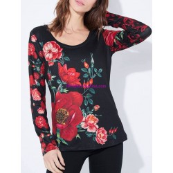 boho chic camiseta top invierno floral 101 idées 2124Z ropa fashion de