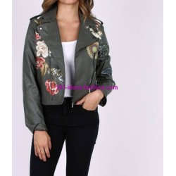 buy now jacket Faux leather perfecto print ethnic floral 101 IDEES