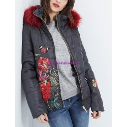coat short quilted print floral fur hood brand 101 idees 1817W