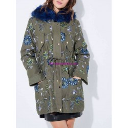 buy now Cotton coat with embroidered flowers fur hood brand 101 idees