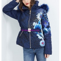 buy now coat short quilted print floral fur hood brand 101 idees
